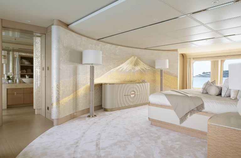This is a photo of Mount Fuji in a superyacht mural courtesy of Winch Design