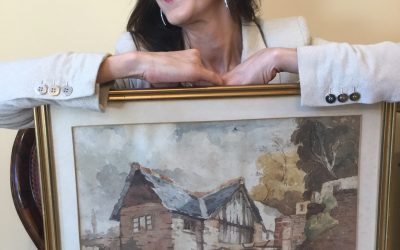 Pandora Mather-Lees with Painting by artist Paul Whalley